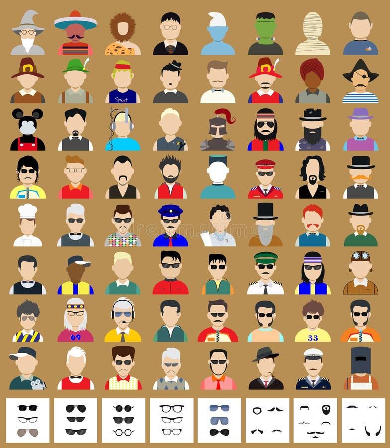 Ensemble d'homme d'avatars illustration stock