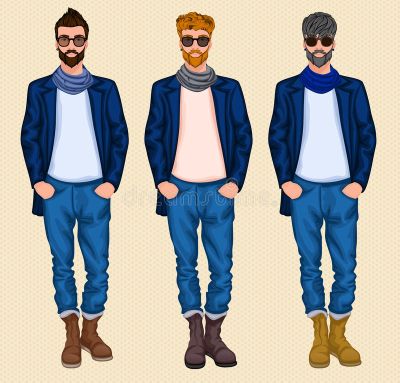 Ensemble d'homme de hippie illustration libre de droits