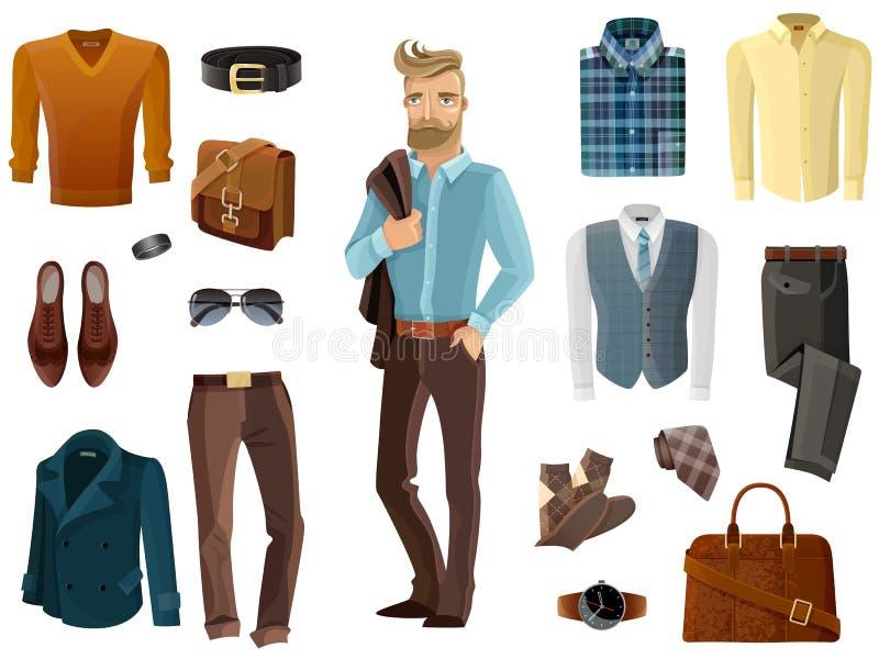 Ensemble d'homme de mode illustration stock