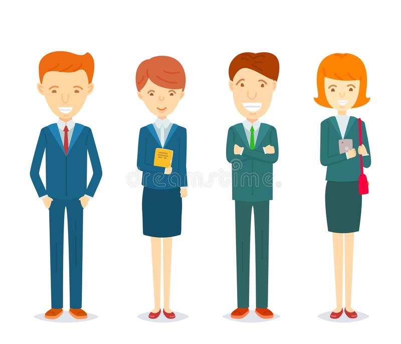 Ensemble d'hommes d'affaires et de caractère de femmes d'affaires dans les costumes formels illustration stock