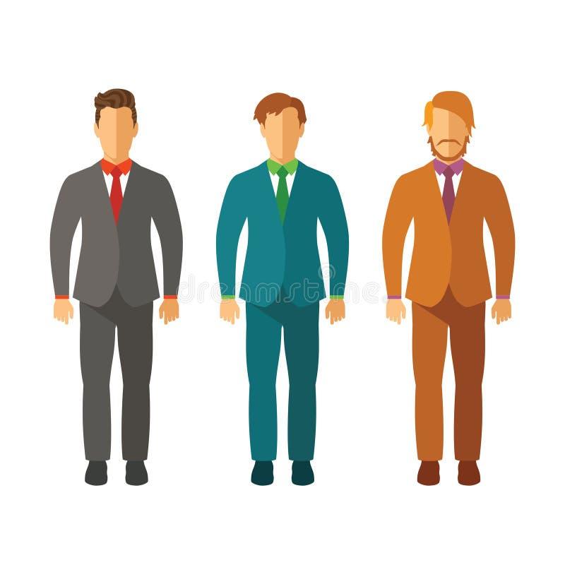 Ensemble d'hommes d'affaires de vecteur dans les costumes dans le style plat illustration libre de droits