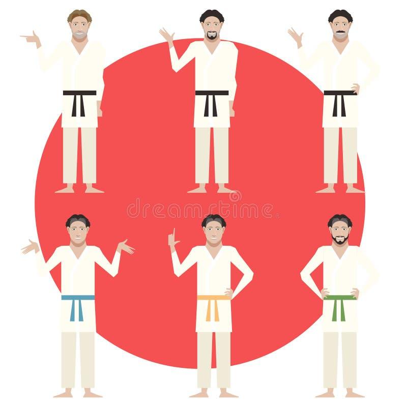 Ensemble d'hommes de karaté illustration stock