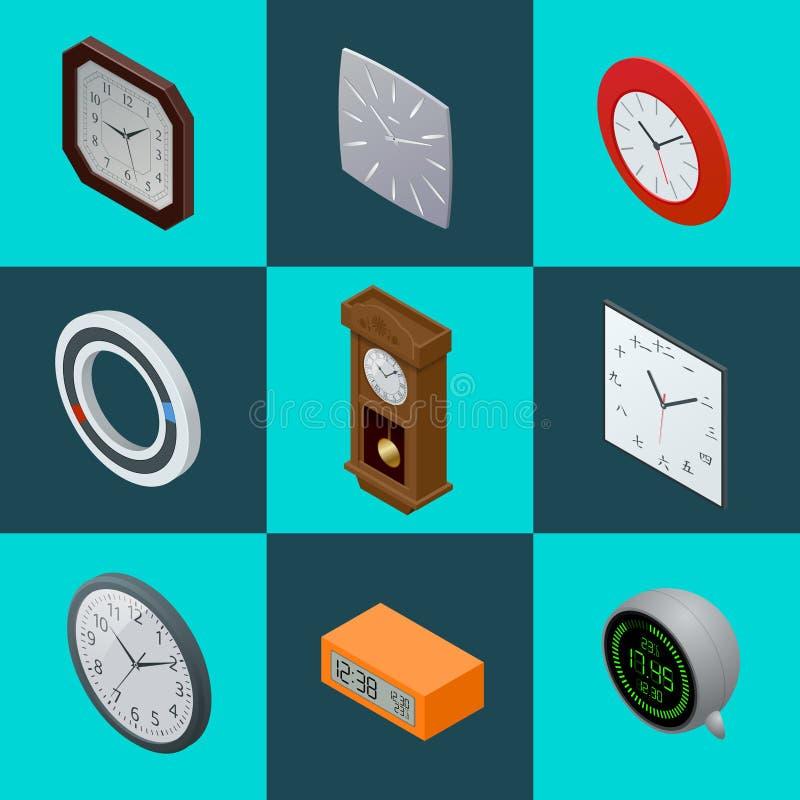 Ensemble d'horloges élégantes Horloge de pendule, horloge moderne, pendule à lecture digitale illustration plate du vecteur 3d d' illustration stock