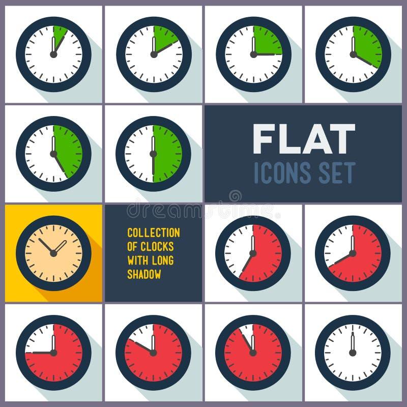 Ensemble d'horloges avec l'intervalle de 10 minutes illustration libre de droits