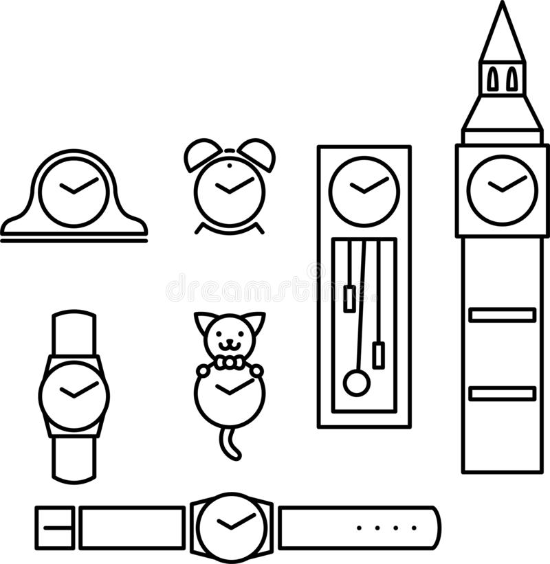 Ensemble d'horloges illustration stock