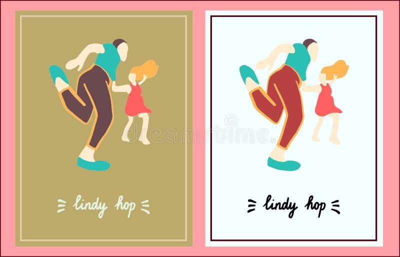 Ensemble d'houblon de Lindy de l'illustration deux tirée par la main dans le style de bande dessinée illustration stock