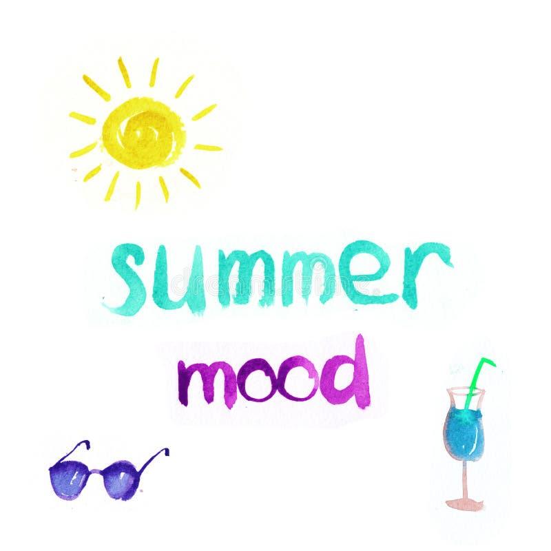 Ensemble d'humeur d'été d'aquarelle le soleil, lunettes de soleil, verre avec le cocktail d'isolement illustration libre de droits