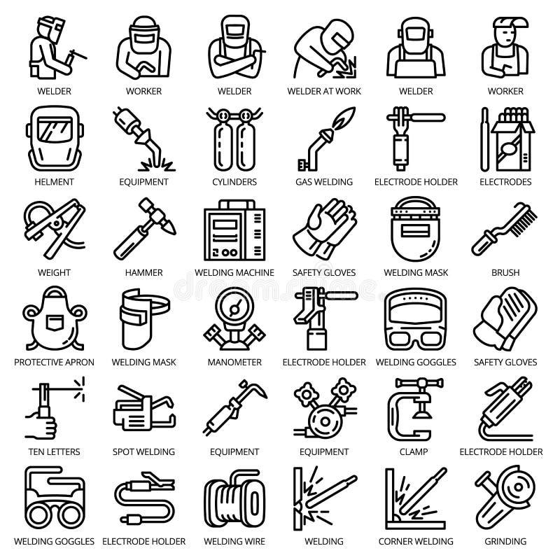 Ensemble d'icône d'équipement de soudeuse, style d'ensemble illustration de vecteur