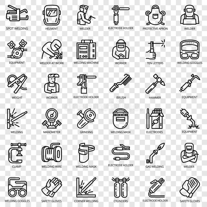 Ensemble d'icône d'équipement de soudeuse, style d'ensemble illustration libre de droits