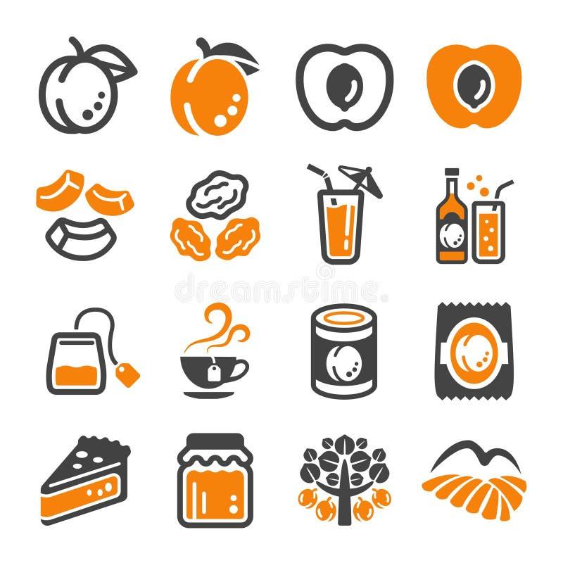 Ensemble d'icône d'abricot illustration de vecteur