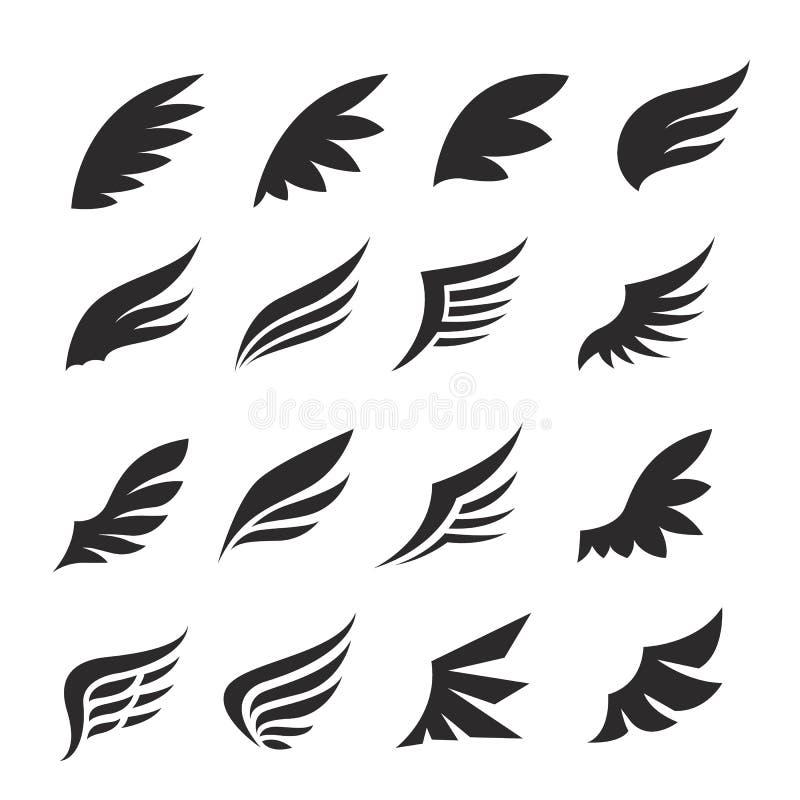 Ensemble d'icône d'ailes illustration libre de droits
