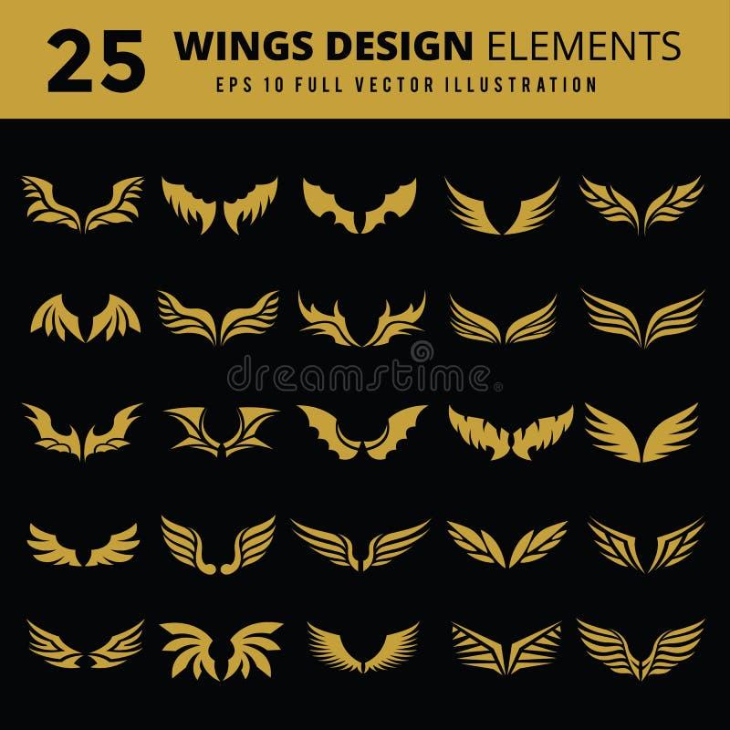 Ensemble d'icône d'ailes photos libres de droits