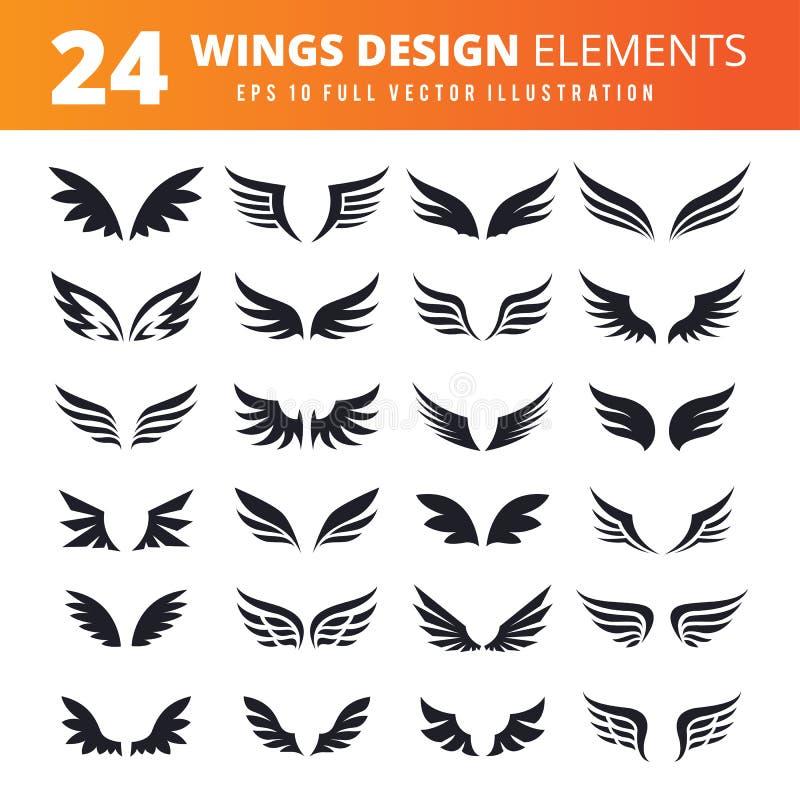 Ensemble d'icône d'ailes images stock