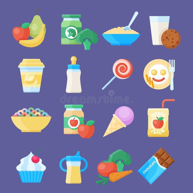 Ensemble d'icône d'aliment pour bébé illustration stock