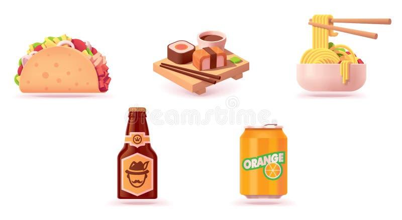 Ensemble d'icône d'aliments de préparation rapide de vecteur illustration stock