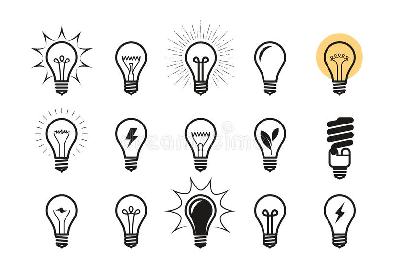 Ensemble d'icône d'ampoule Ampoule, électricité, symbole d'énergie ou label Illustration de vecteur illustration stock