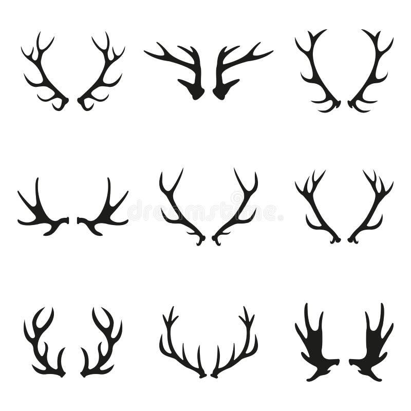 Ensemble d'icône d'andouillers de cerfs communs Collection d'icône de klaxons d'isolement sur le fond blanc Illustration de vecte illustration stock