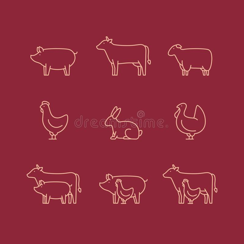 Ensemble d'icône d'ensemble d'animal de ferme Porc, vache, agneau, poulet, dinde, r illustration stock