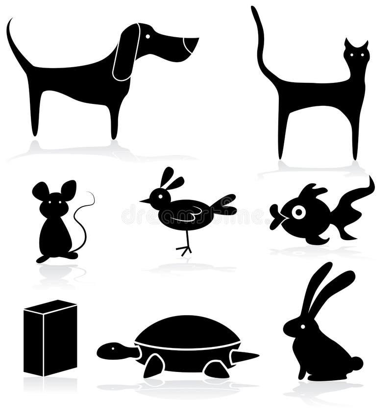 Ensemble d'icône d'animaux de magasin d'animal familier illustration libre de droits