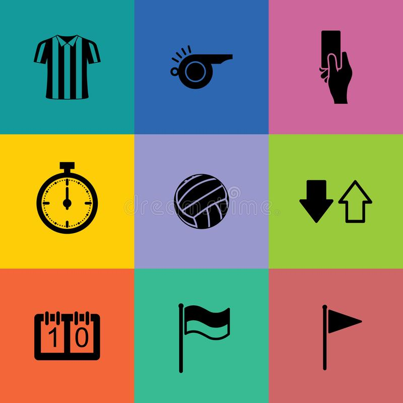 Ensemble d'icône d'arbitre du football Signe et symbole abstraits du football Vecteur illustration stock