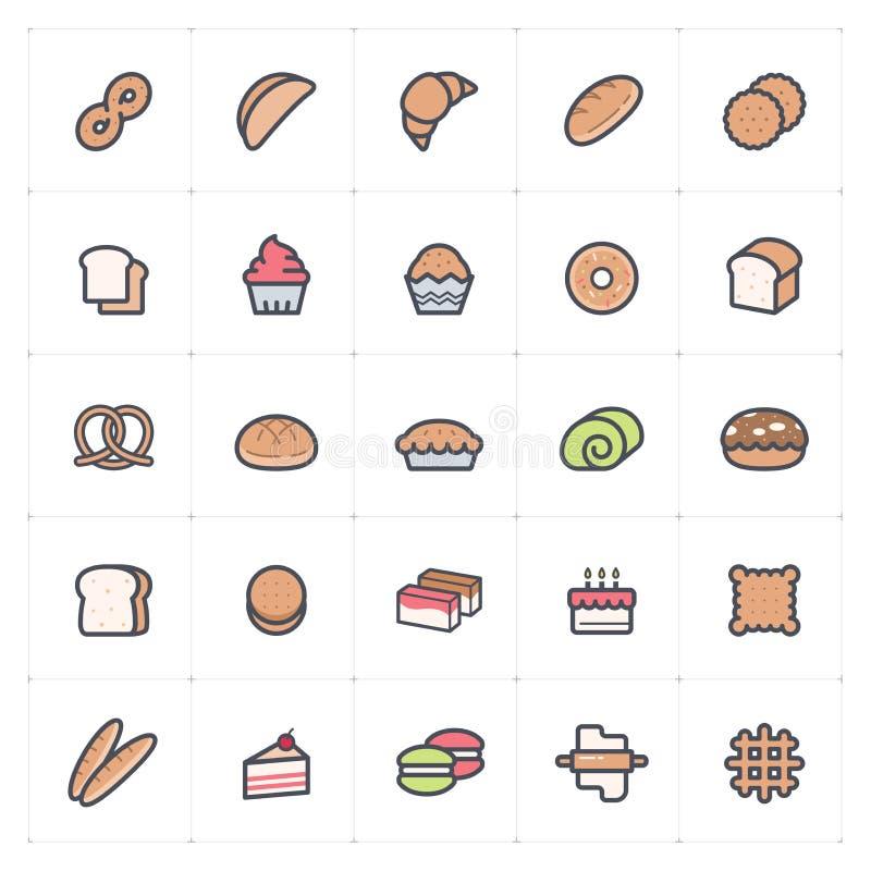 Ensemble d'icône - boulangerie et pain polychromes illustration de vecteur