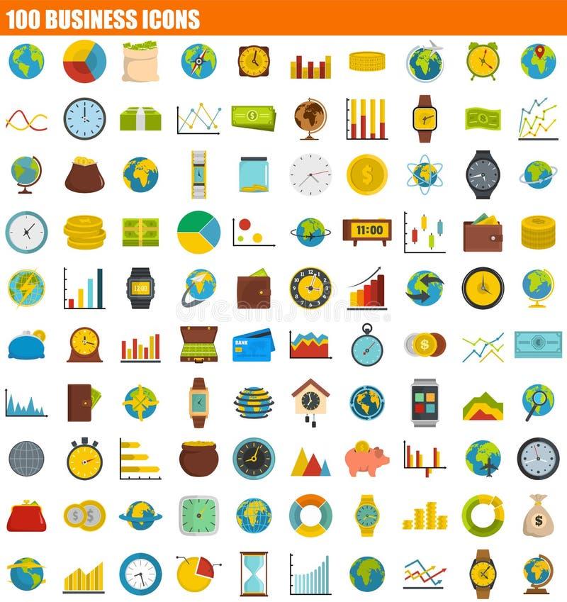 ensemble d'icône de 100 affaires, style plat illustration libre de droits