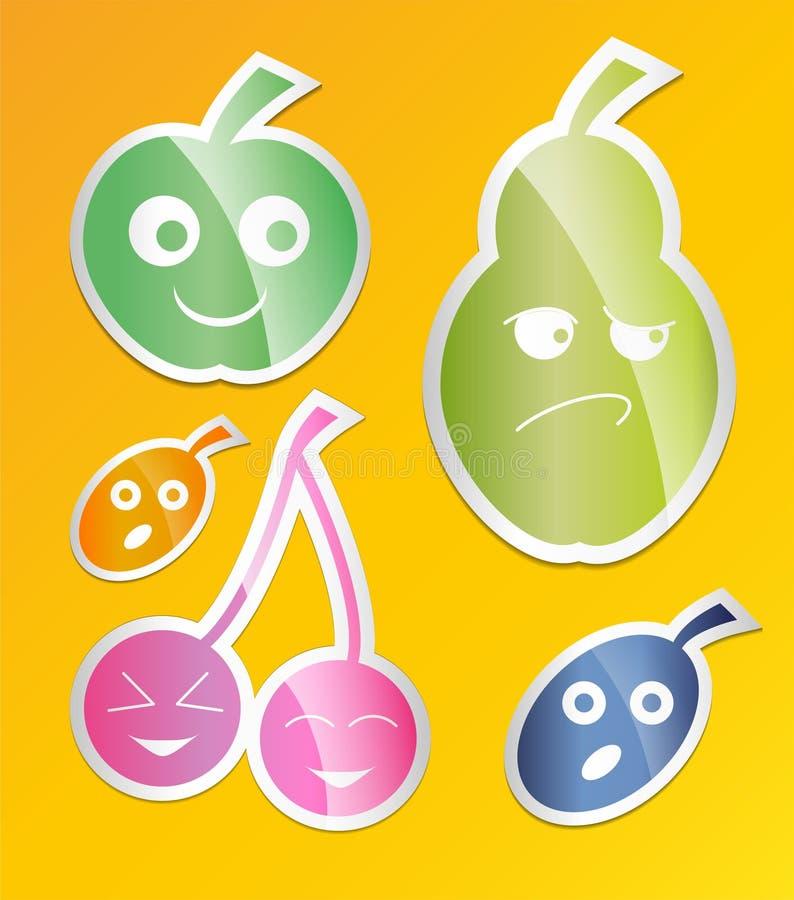 Ensemble d'icône de baie Labels avec des baies pomme, poire, prune, abricot, style plat de cerise illustration stock