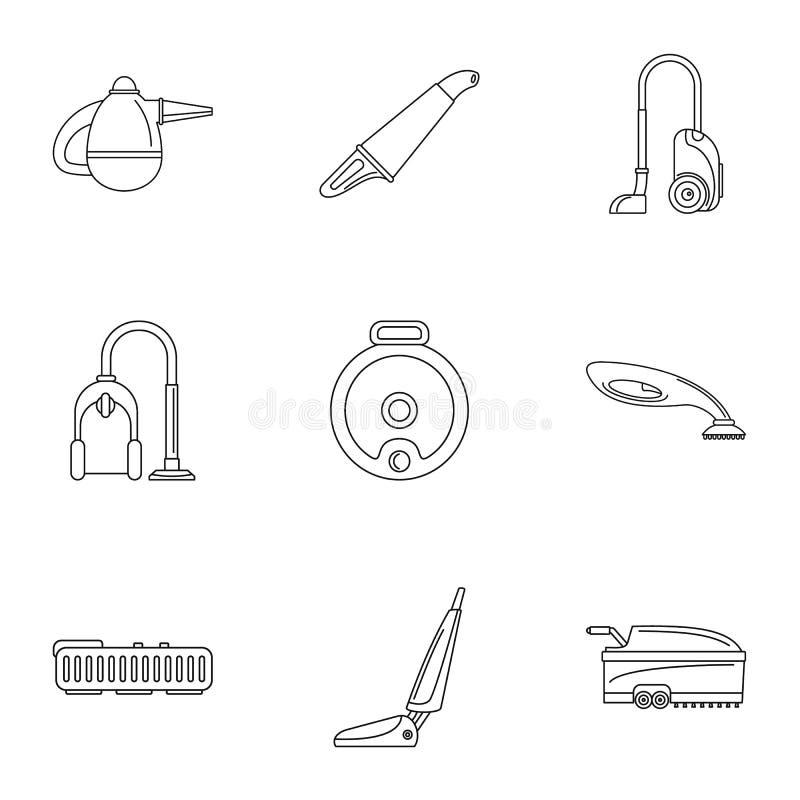 Ensemble d'icône de balayeuse de tapis, style d'ensemble illustration de vecteur