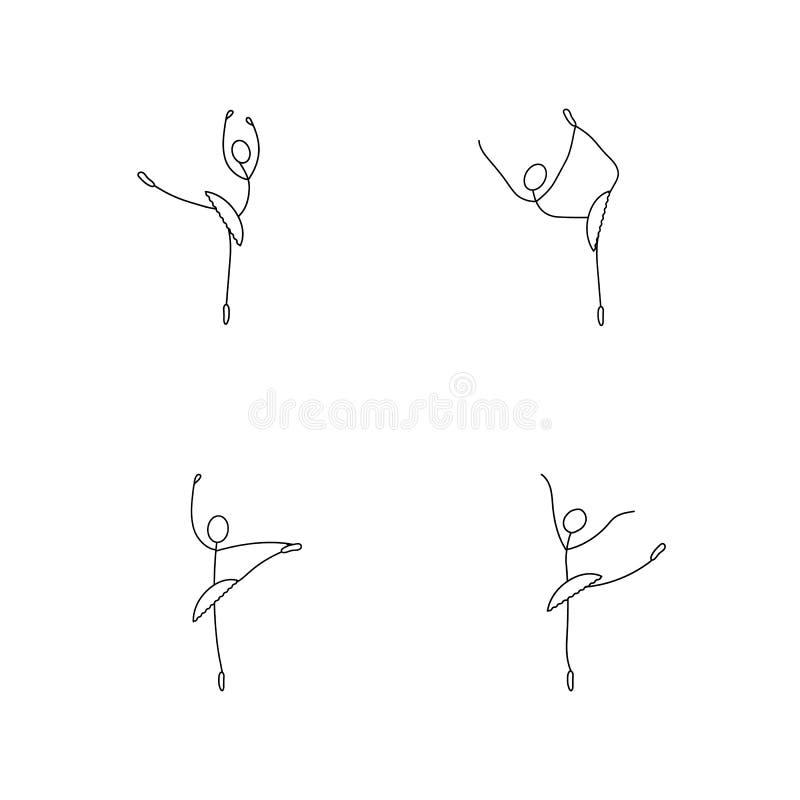 Ensemble d'icône de bande dessinée de croquis peu de chiffre danseur classique de bâton illustration de vecteur