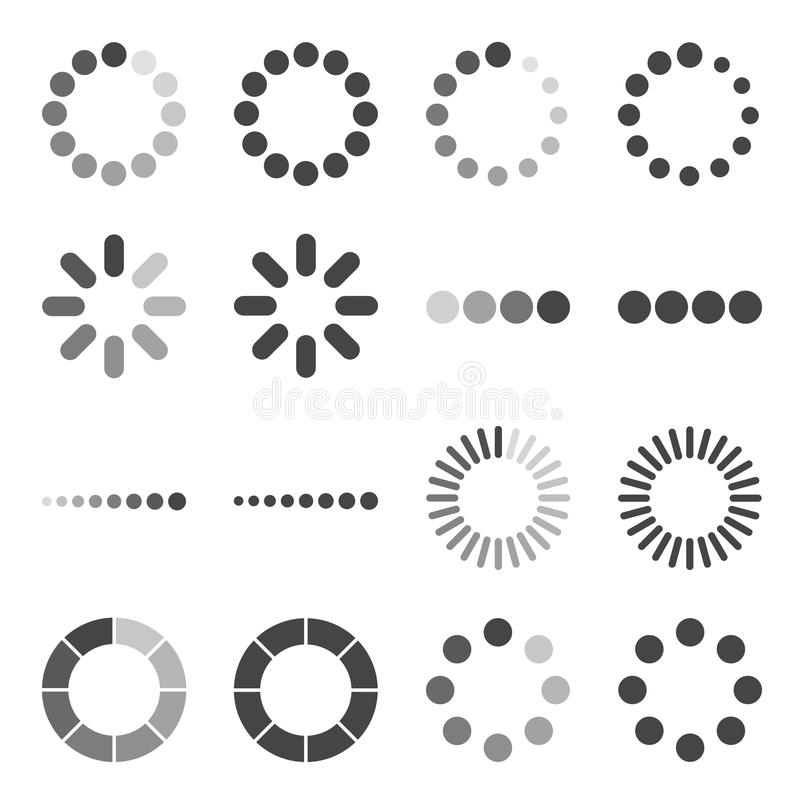 Ensemble d'icône de barre de chargement, symbole de vecteur illustration de vecteur