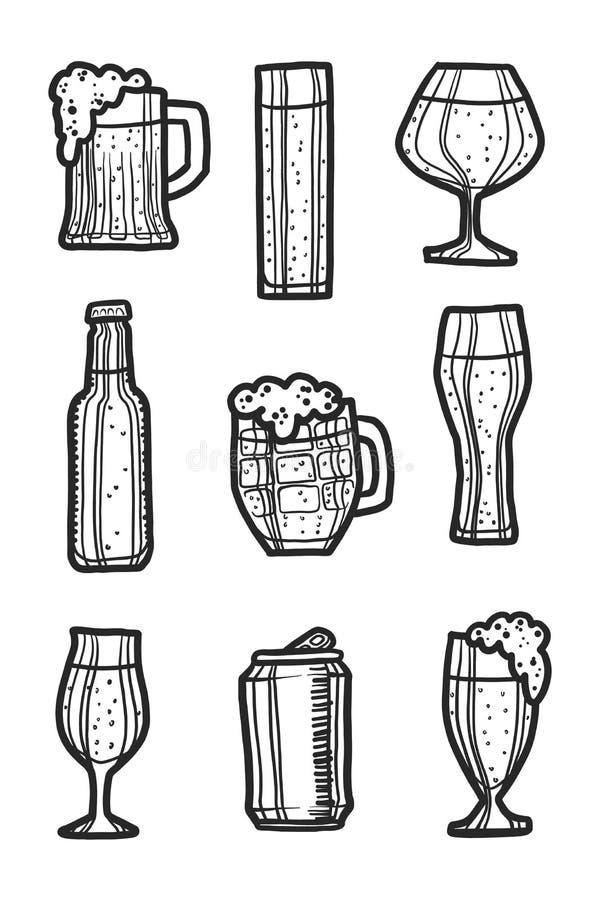 Ensemble d'icône de bière, style tiré par la main illustration libre de droits