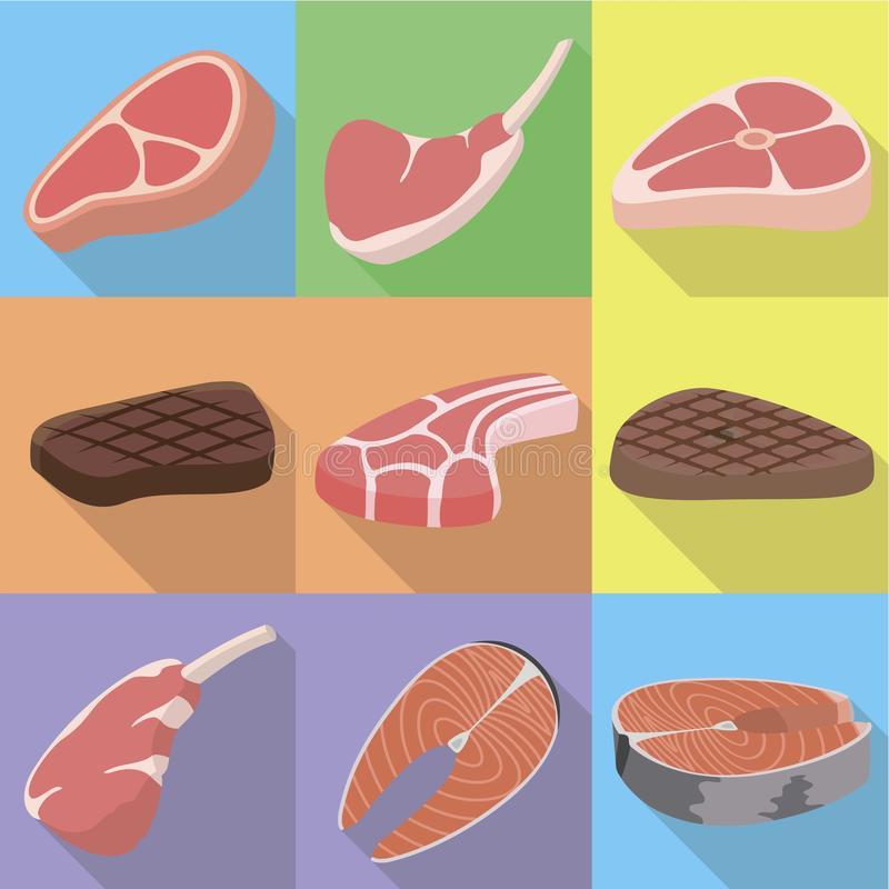 Ensemble d'icône de bifteck, style plat illustration libre de droits