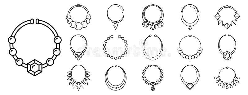 Ensemble d'icône de bijoux de collier, style d'ensemble illustration de vecteur