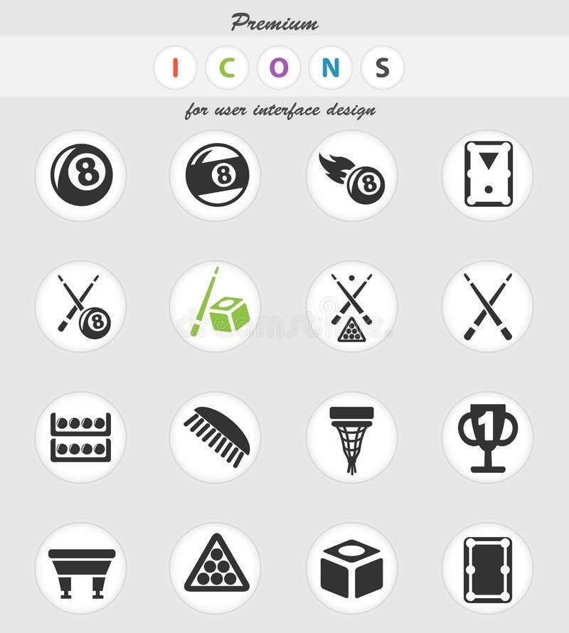 Ensemble d'icône de billards illustration de vecteur