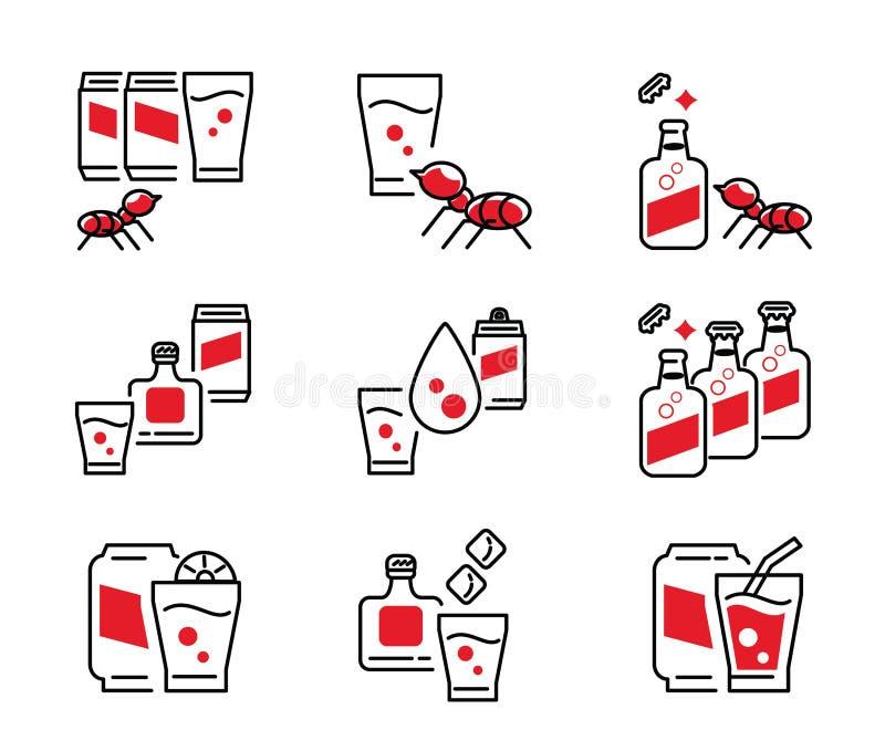 Ensemble d'icône de boisson non alcoolisée de kola illustration stock