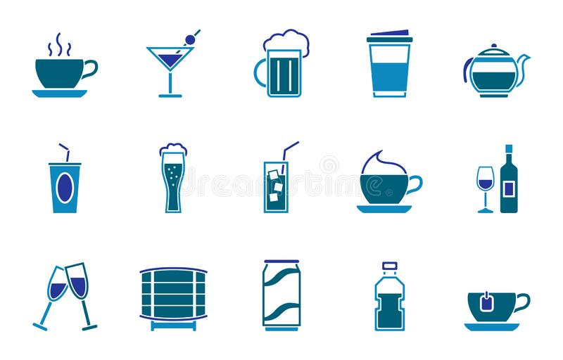 Ensemble d'icône de boissons illustration de vecteur