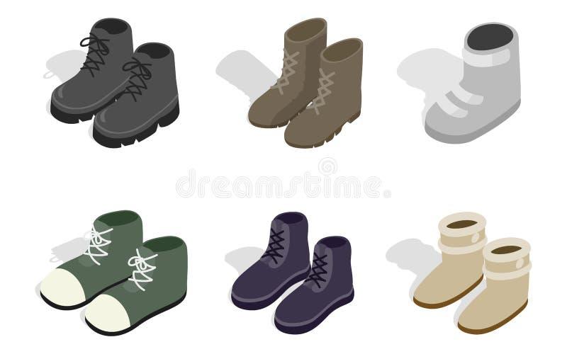 Ensemble d'icône de bottes d'automne d'hiver, style isométrique illustration de vecteur