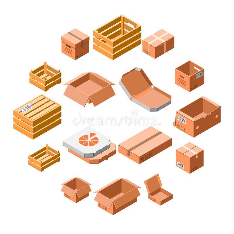 Ensemble d'icône de caisse d'emballage, style 3d isométrique illustration de vecteur