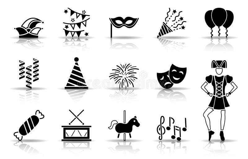 Ensemble d'icône de carnaval illustration stock