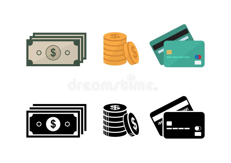 Ensemble d'icône de carte de crédit d'argent et photo libre de droits
