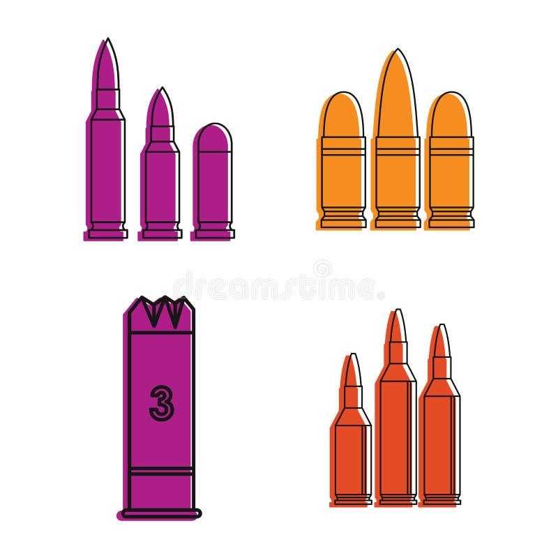 Ensemble d'icône de cartouches, style d'ensemble de couleur illustration stock