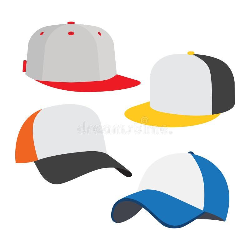 Ensemble d'icône de casquette de baseball illustration de vecteur