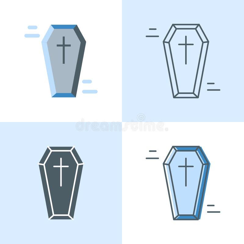 Ensemble d'icône de cercueil dans l'appartement et la ligne styles illustration stock