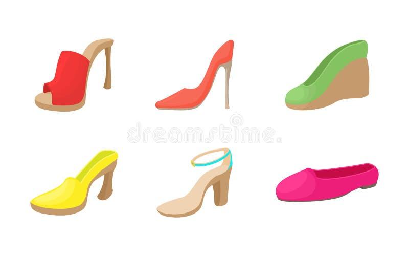 Ensemble d'icône de chaussures de femme, style de bande dessinée illustration de vecteur