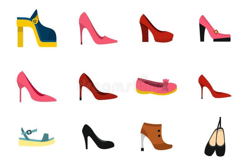 Ensemble d'icône de chaussures de femme, style plat illustration de vecteur