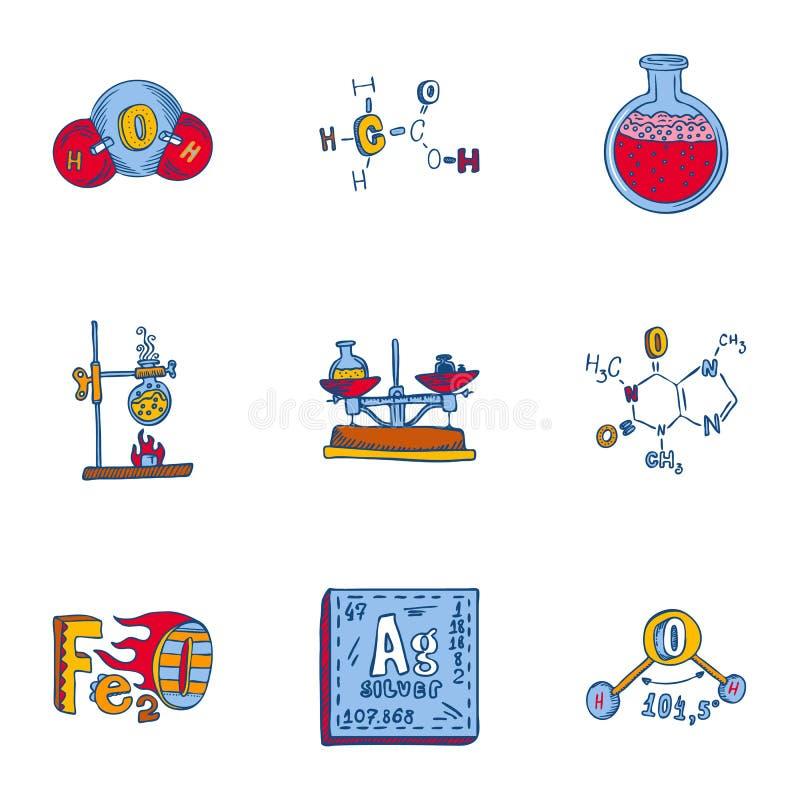 Ensemble d'icône de chimie, style tiré par la main illustration stock