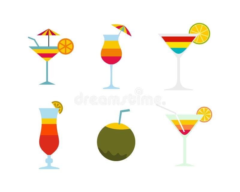 Ensemble d'icône de cocktail, style plat illustration de vecteur