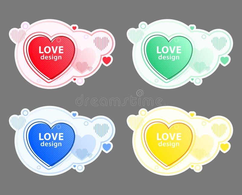 Ensemble d'icône de coeur, symbole d'amour ?l?ments graphiques modernes abstraits Formes et ligne color?es dynamiques Banni?res d illustration libre de droits