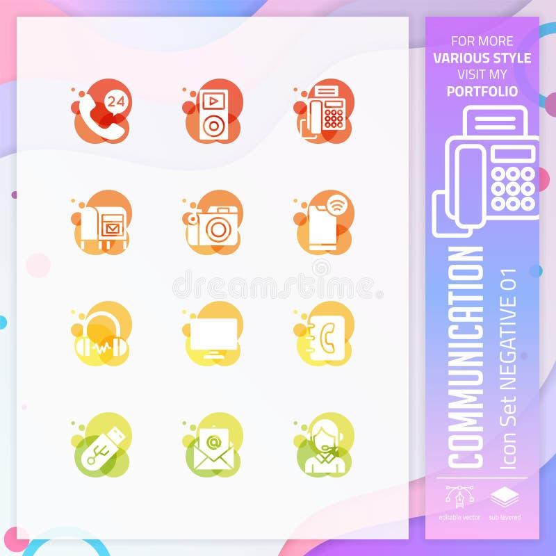 Ensemble d'icône de communication avec le style de glyph pour la technologie Contactez- quenous le paquet d'ic?ne peut employer p illustration stock