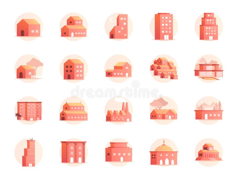 Ensemble d'icône de couleurs de propriété A inclus les icônes en tant que maison, maison, hôtel, station de vacances, bâtiment et illustration libre de droits